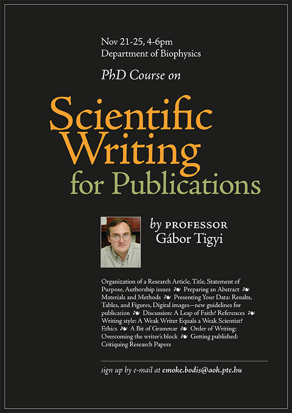 Scientific Writing course poster